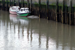förtöjd fartyghamnbrygga Arkivbild