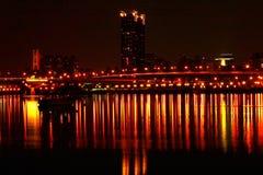 förtöjd sikt för nattportship Royaltyfri Fotografi