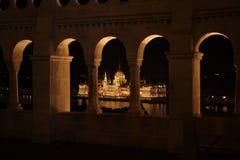 förtöjd sikt för nattportship Royaltyfri Bild