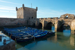 Förtöjde fisherboats Arkivfoto