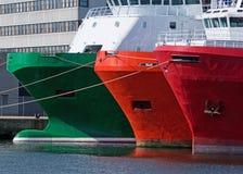 förtöjde ships Royaltyfri Fotografi