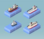 Förtöjt på havet stock illustrationer