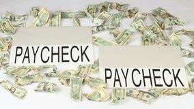 Förtjänst- och utgifterlönebesked till lönebeskedet arkivfilmer