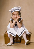 förtjusande afrikansk flicka little retro s-studiostil Royaltyfria Foton