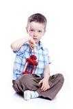förtjusande barn för red för pojkelampfoto arkivbild