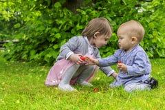 Förtjusande barn som spelar i parkera Arkivfoto