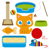 Förtjusande Cat With Different Toys And för tecknad film beståndsdelar Royaltyfria Foton