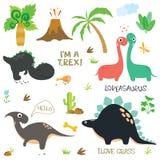 Förtjusande dinosaurier som isoleras på vit bakgrund stock illustrationer