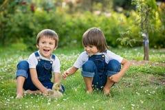 Förtjusande förskole- barn, pojkebröder som spelar med litet D royaltyfri bild