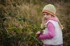 Förtjusande flicka i höstskog royaltyfria foton