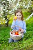 Förtjusande flicka som rymmer en korg av påskägg royaltyfri fotografi
