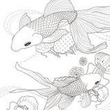 Förtjusande guld- fiskfärgläggningsida Arkivbild