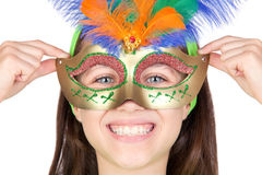 förtjusande karnevalflicka little venetian maskering royaltyfri fotografi
