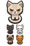 förtjusande katter fem stock illustrationer