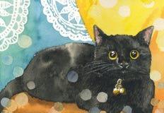 Förtjusande kattunge för pott för katt för illustration för målning för vattenfärg för kattunge för pott för katt för vattenfärgm Royaltyfria Foton