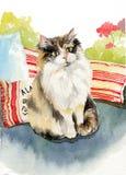 Förtjusande kattunge för pott för katt för illustration för målning för vattenfärg för kattunge för pott för katt för vattenfärgm Royaltyfria Bilder