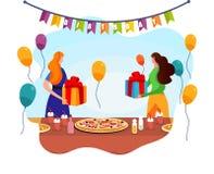 Förtjusande kvinnor byter med gåvor nära den festliga tabellen stock illustrationer