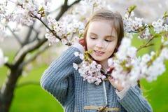 Förtjusande liten flicka i blommande körsbärträdgård Royaltyfri Bild