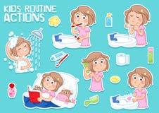 Förtjusande liten flicka med ljus - brunt och daglig rutin - hygien royaltyfri illustrationer
