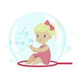 Förtjusande liten flicka som blåser bubblor, medan sitta inom såpbubblavektorillustration Arkivfoto