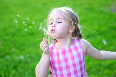 Förtjusande liten flicka som blåser på den vita maskrosen Royaltyfri Fotografi
