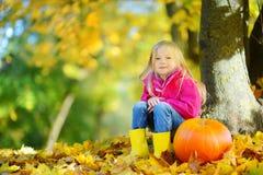 Förtjusande liten flicka som har gyckel på en pumpalapp på härlig höstdag royaltyfri bild