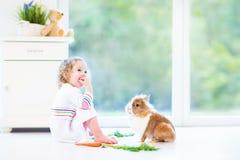 Förtjusande litet barnflicka som spelar med en verklig kanin Royaltyfri Foto
