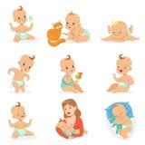 Förtjusande lyckligt behandla som ett barn och hans dagliga rutinuppsättning av gulliga tecknad filmspädbarnsålder- och spädbarni vektor illustrationer