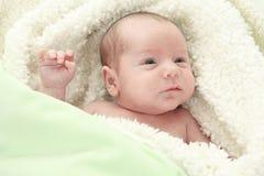 Förtjusande naket behandla som ett barn pojken med blåa ögon som ligger på Royaltyfria Bilder