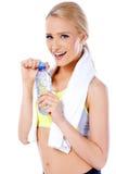 Förtjusande och sexig sportig blond kvinna Fotografering för Bildbyråer