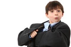 förtjusande pojke över sorterad dräkt royaltyfria bilder