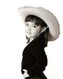 förtjusande svart cowgirl isolerad white Arkivfoton