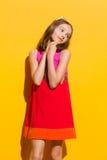 Förtjust flicka i solljuset Fotografering för Bildbyråer