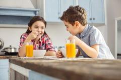 Förtjust flicka som ser hennes broder och äta Royaltyfri Fotografi
