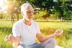 Förtjust hög man som tycker om yoga i parkera Royaltyfri Foto