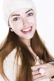 Förtjust lycklig kvinnaframsida - toothy leende för skönhet Arkivbilder