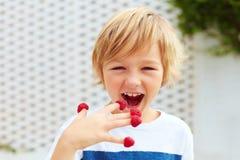 Förtjust unge, pojke som smakar mogna och nya hallon från hans fingrar Royaltyfria Foton