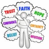 Förtroende för förtroendetrohopp som tänker Person Thought Clouds royaltyfri illustrationer