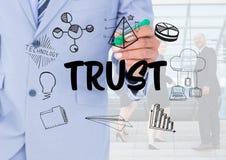 Förtroendediagram med bakgrund för affärsfolk royaltyfri illustrationer