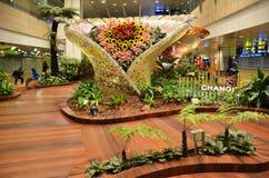 Förtrollad trädgård på Changi den internationella flygplatsen, Singapore Arkivfoton