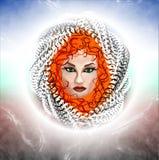 Förtrollande kvinna med rött hår abstrakt teckning Royaltyfri Fotografi