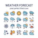 FÖRUTSETT VÄDER: Fylld översiktssymboler, pictogram och symbolsamling royaltyfri illustrationer