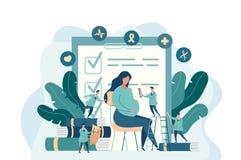 Förväntansfull moder, gravid kvinna på doktorskontoret stock illustrationer