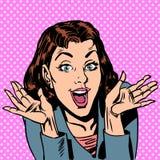 Förvåna den positiva åsikten för kvinnaöverraskningglädje royaltyfri illustrationer