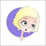 Förvånad blond flicka vektor illustrationer