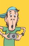 förvånad digital dude för kamera stock illustrationer