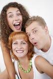 förvånad familj Arkivfoto