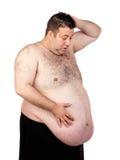 Förvånad fet man royaltyfri foto