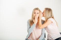 Förvånad flicka som ser hennes tvilling- over vita bakgrund för syster Royaltyfria Foton