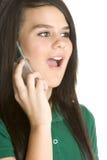 förvånad flickatelefon Royaltyfri Fotografi